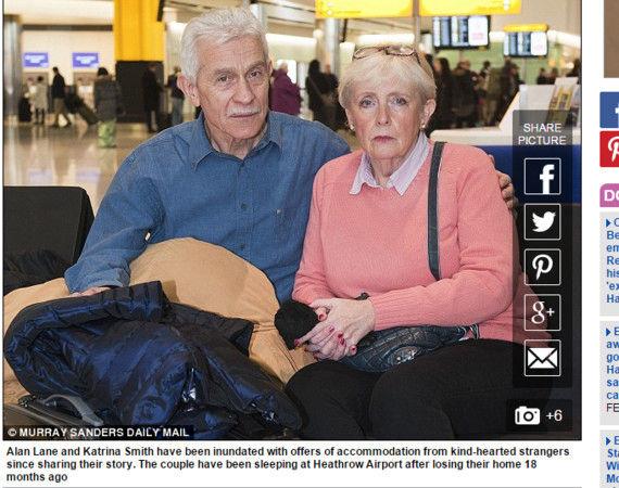 英国一对71岁银发夫妇破产以机场为家 上演真实版的《航站情缘》
